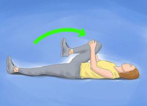 estiramiento lumbares rodilla individual al pecho